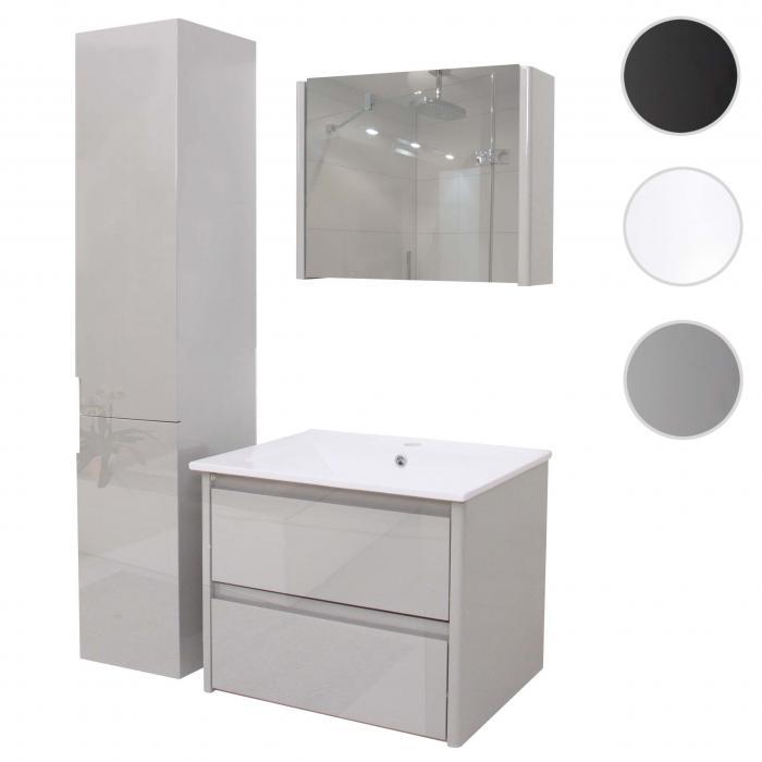Badezimmerset hwc b19 waschtisch spiegelschrank for Spiegelschrank grau