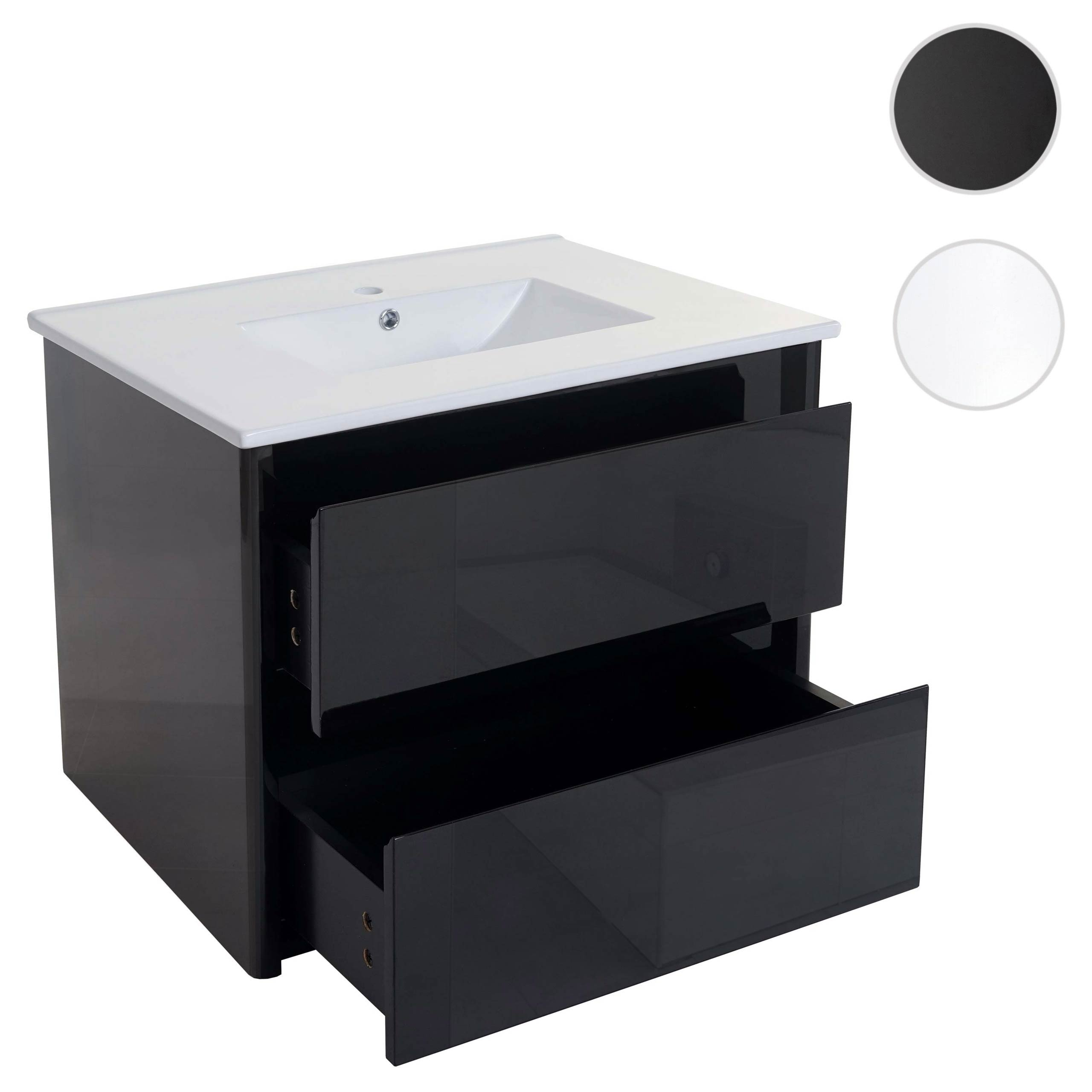 Mendler Waschbecken + Unterschrank HWC-B19, Waschbecken Waschtisch Badezimmer, hochglanz 50x80cm ~ Varianten 57628+57627