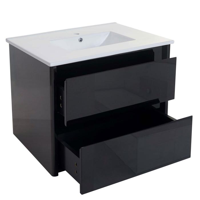 Waschbecken + Unterschrank HWC B19, Waschbecken Waschtisch Badezimmer,  Hochglanz 50x80cm ~ Schwarz