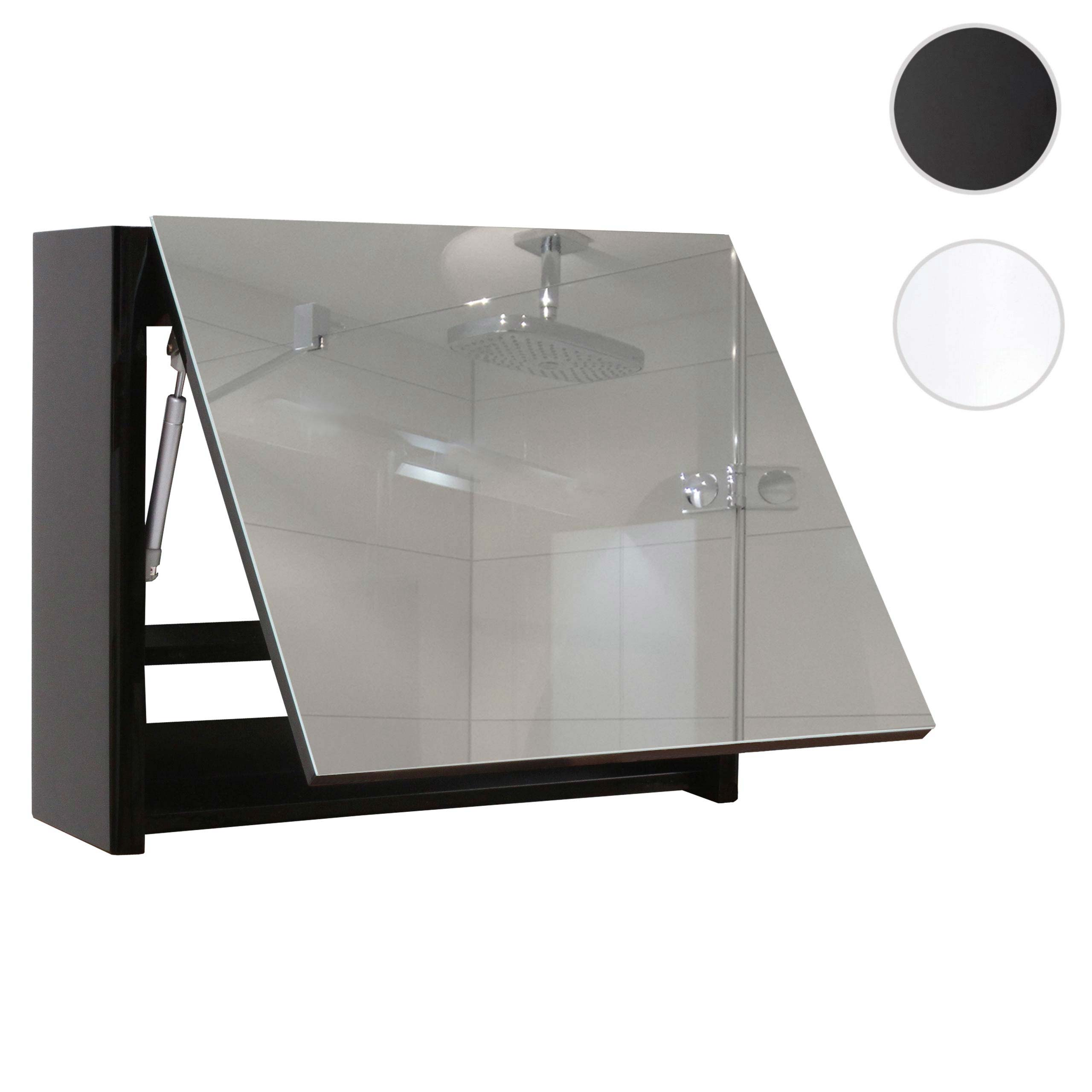 Mendler Spiegelschrank HWC-B19, Wandspiegel Badspiegel Badezimmer, aufklappbar hochglanz 48x79cm ~ Varianten 57633