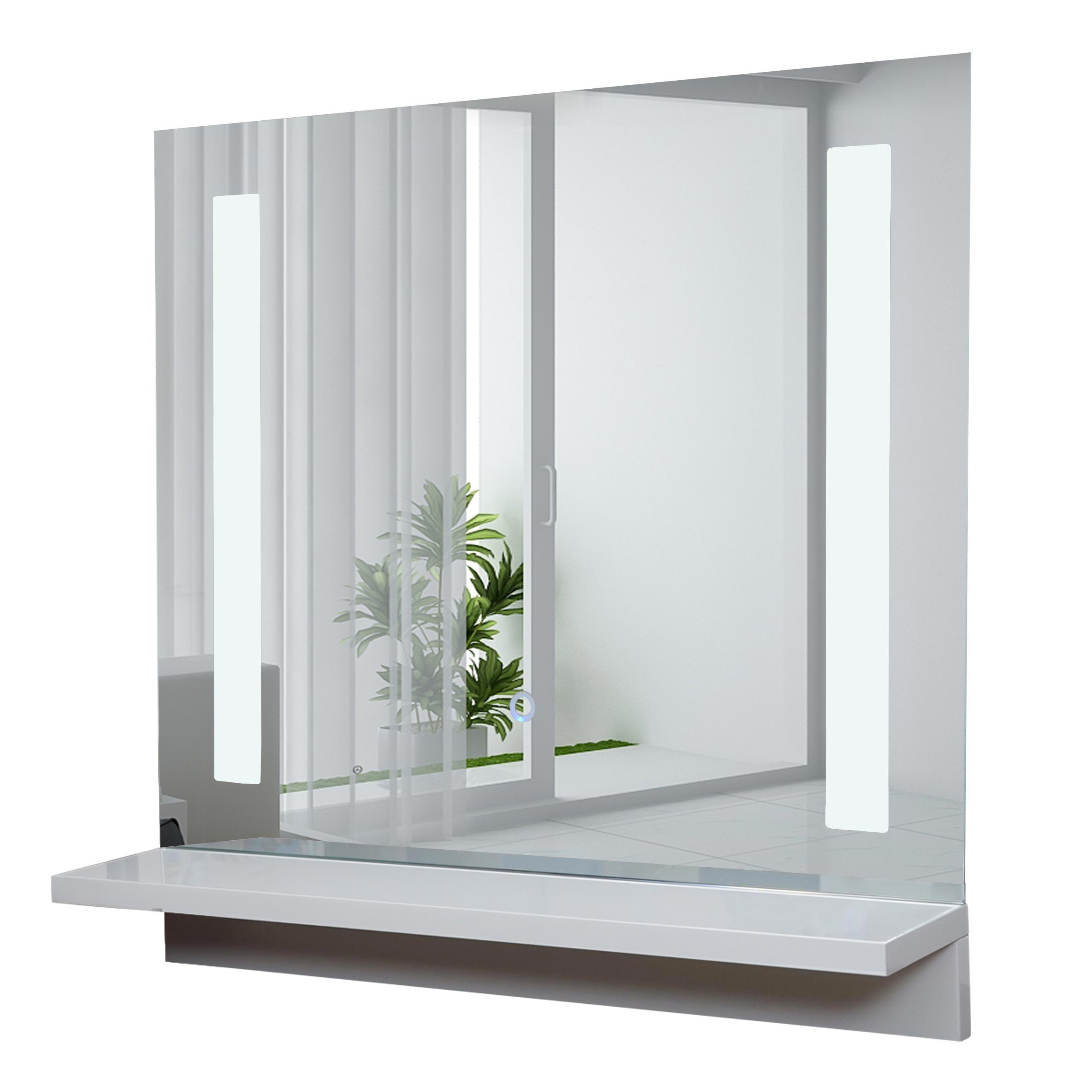 led-wandspiegel mit ablage hwc-c11, badspiegel badezimmer, hochglanz
