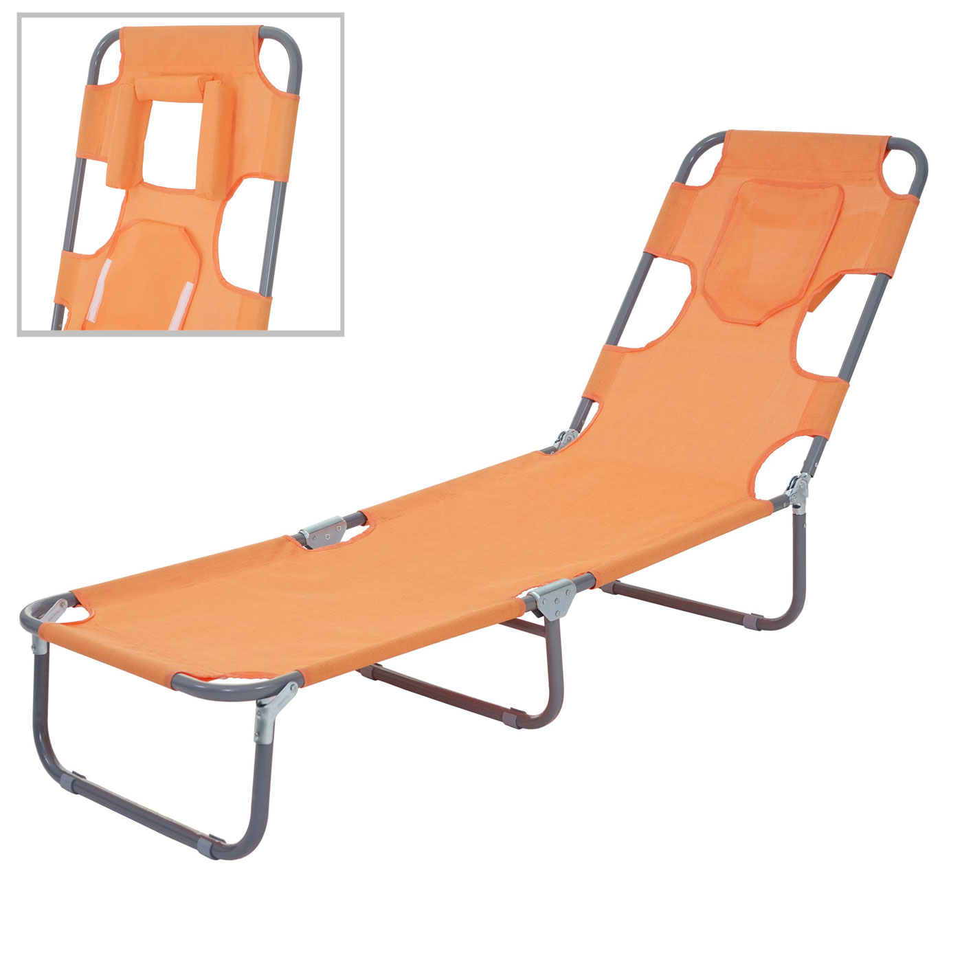 Sonnenliege MCW-B11, Relaxliege Gartenliege, Bauchliegefunktion Textil klappbar ~ orange