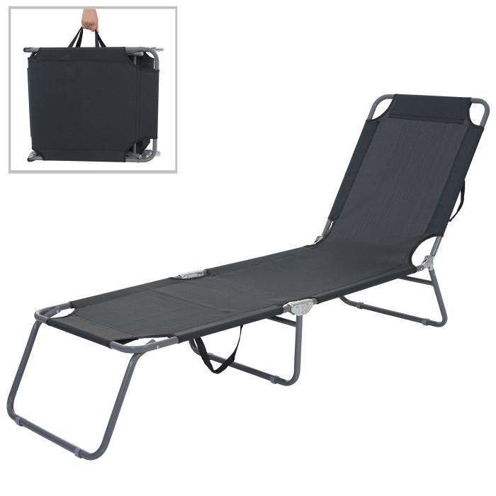 Gartenliege klappbar günstig  Sonnenliege HWC-B11, Relaxliege Gartenliege, Textil klappbar ~ schwarz