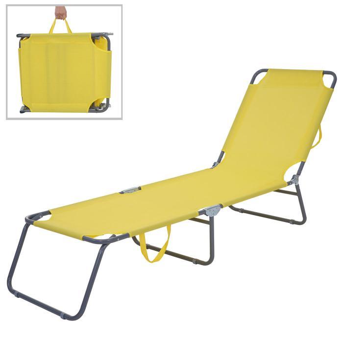 Gartenliege klappbar  Sonnenliege HWC-B11, Relaxliege Gartenliege, Textil klappbar ~ gelb