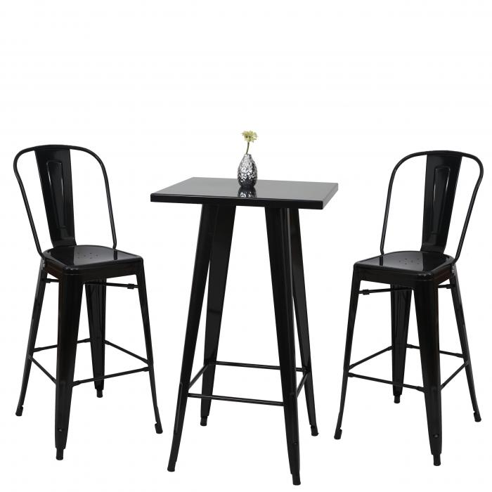 Set stehtisch 2x barhocker hwc a73 barstuhl bartisch for Barhocker schwarz metall