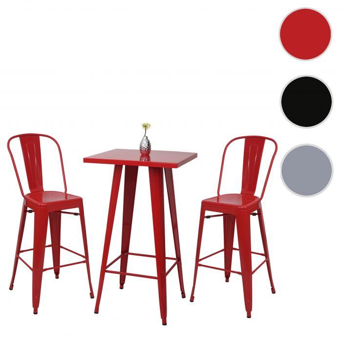 Set stehtisch 2x barhocker hwc a73 barstuhl bartisch for Barhocker industriedesign