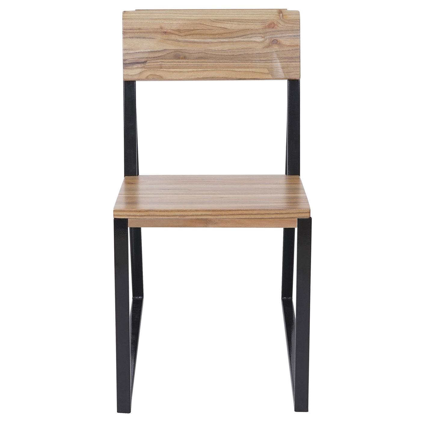 6x chaise de salle manger hwc a88 bois d 39 orme m tal. Black Bedroom Furniture Sets. Home Design Ideas