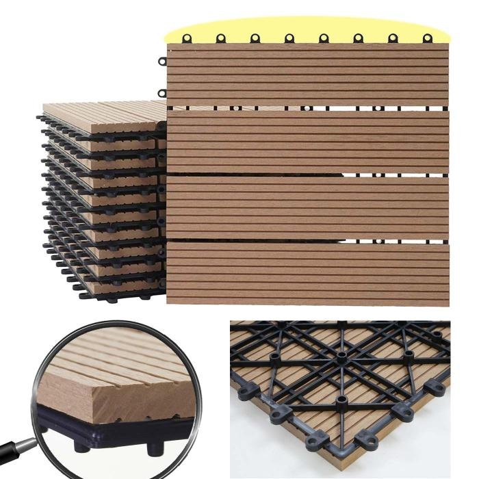 wpc bodenfliese rhone holzoptik balkon terrasse 11x je 30x30cm 1qm premium teak linear. Black Bedroom Furniture Sets. Home Design Ideas