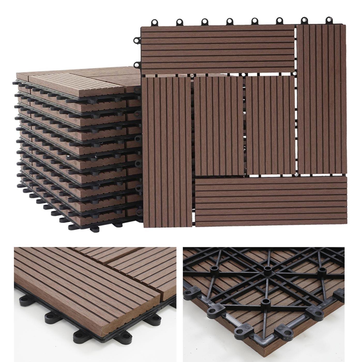 premium wpc legno piastrella rodano pavimento piastrelle terrazza 11 pezzi per 30x30cm 1qm. Black Bedroom Furniture Sets. Home Design Ideas