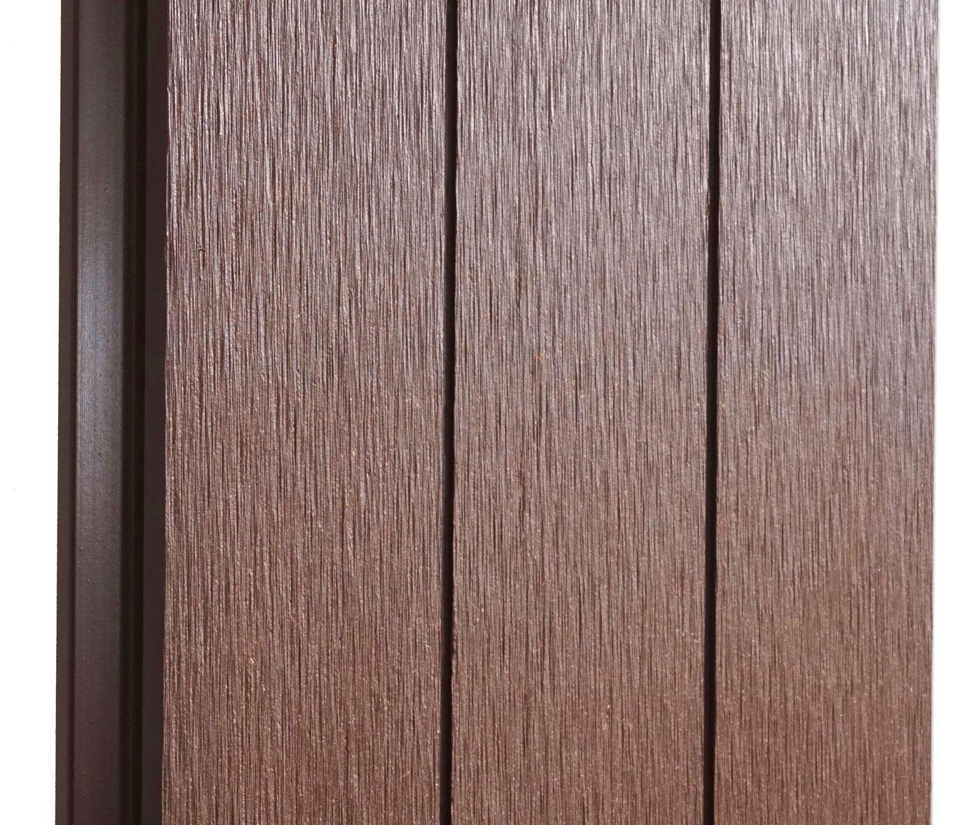 wpc sichtschutz savoie windschutz zaun alu pfosten 2er set schr g 2 82m braun. Black Bedroom Furniture Sets. Home Design Ideas