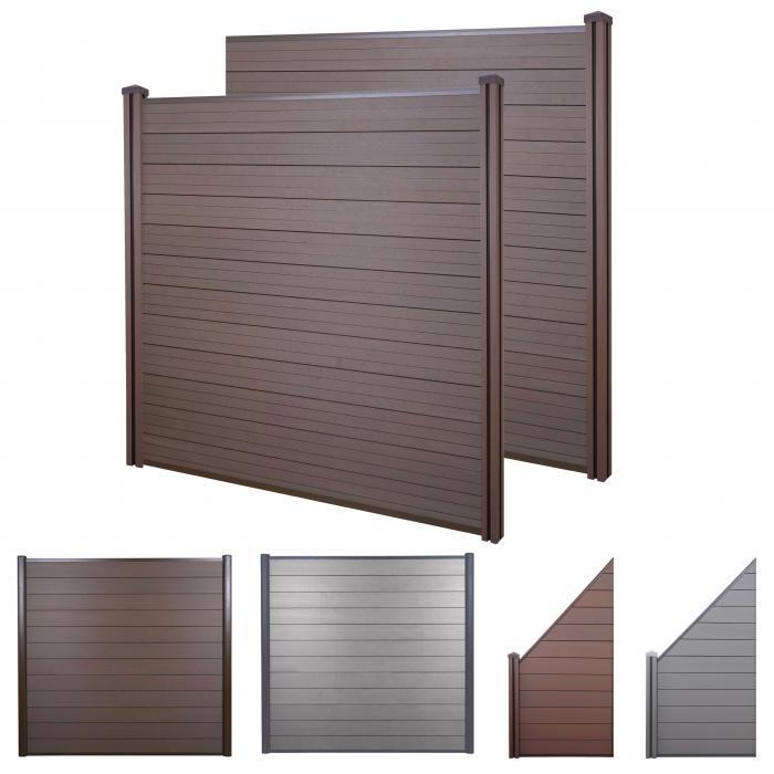 wpc sichtschutz sarthe windschutz zaun wpc pfosten 2er set 3 76m braun. Black Bedroom Furniture Sets. Home Design Ideas