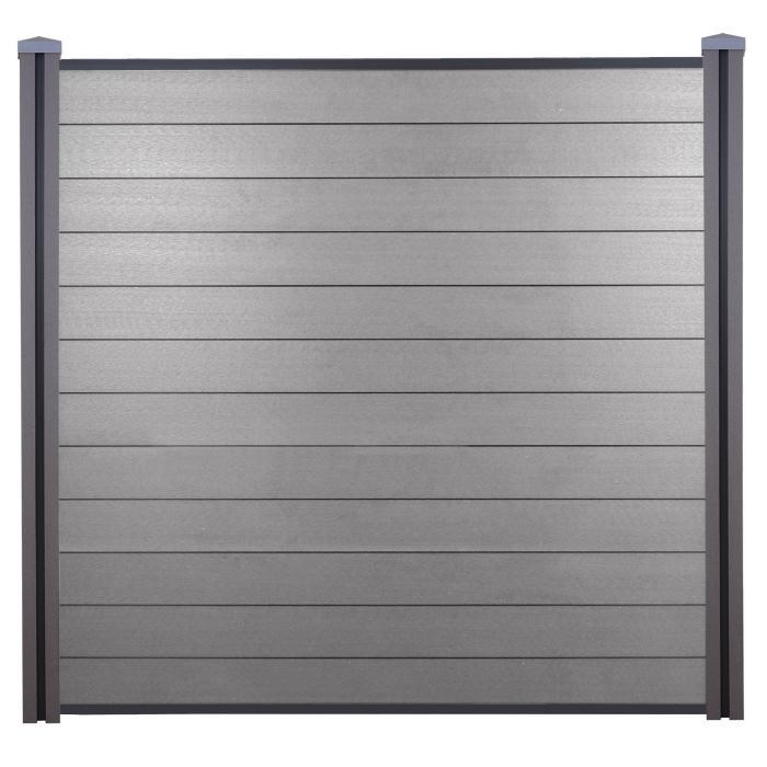wpc sichtschutz sarthe windschutz zaun wpc pfosten 3er set 5 7m grau. Black Bedroom Furniture Sets. Home Design Ideas