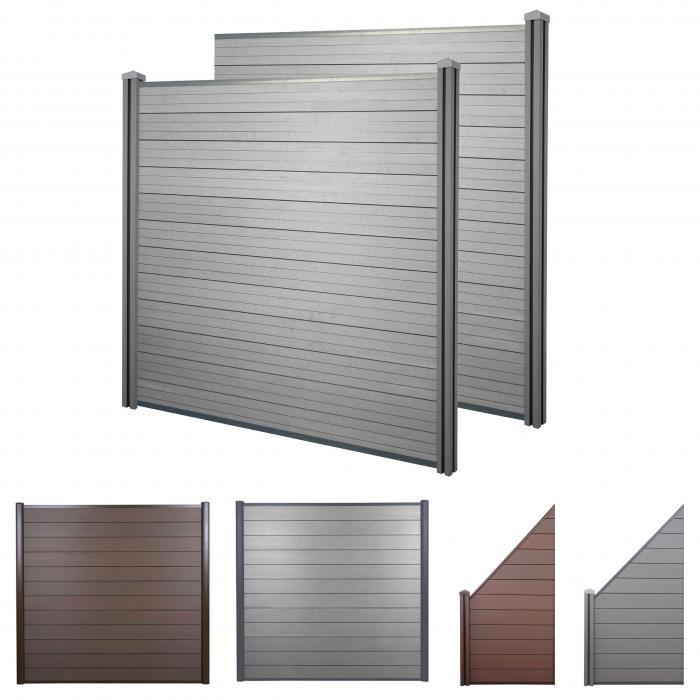wpc sichtschutz sarthe windschutz zaun wpc pfosten 2er. Black Bedroom Furniture Sets. Home Design Ideas