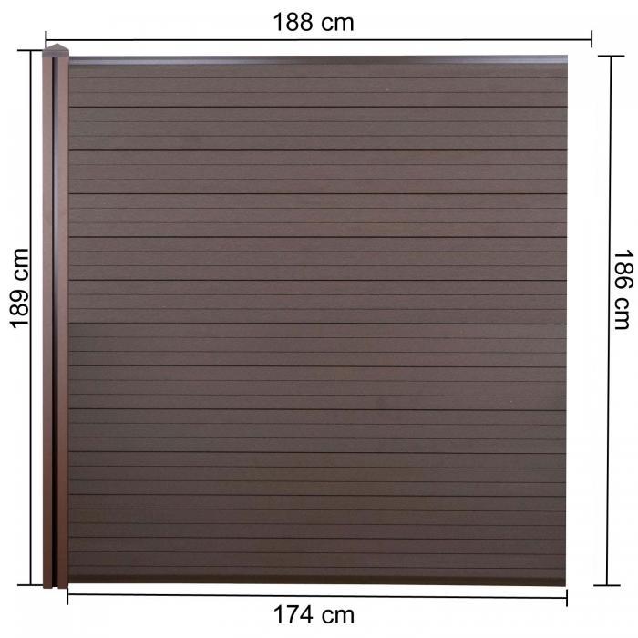 wpc sichtschutz sarthe windschutz zaun wpc pfosten erweiterungselement 1 88m braun. Black Bedroom Furniture Sets. Home Design Ideas