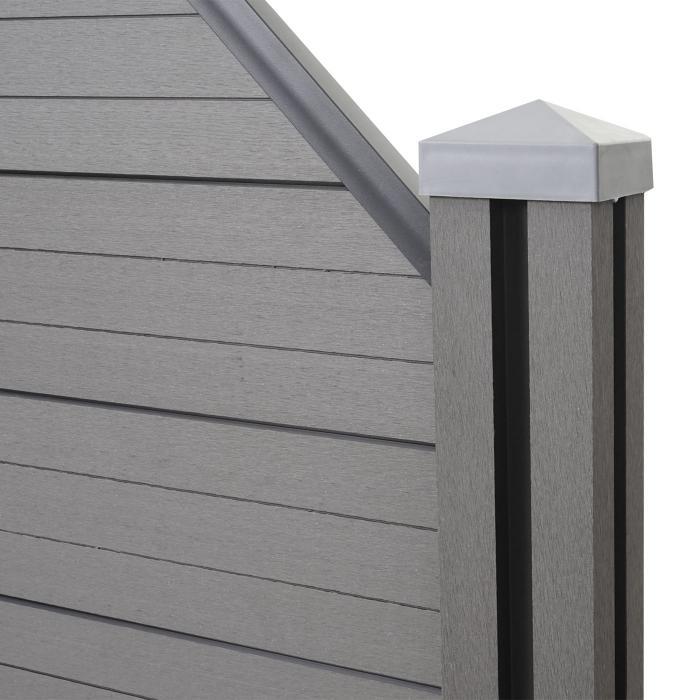 wpc sichtschutz sarthe windschutz zaun wpc pfosten erweiterungselement schr g 0 98m grau. Black Bedroom Furniture Sets. Home Design Ideas