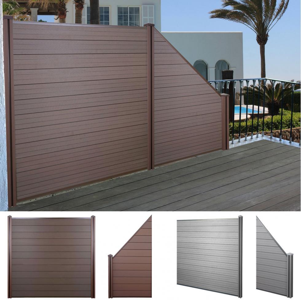 wpc sichtschutz sarthe windschutz zaun wpc pfosten grau oder braun ebay. Black Bedroom Furniture Sets. Home Design Ideas