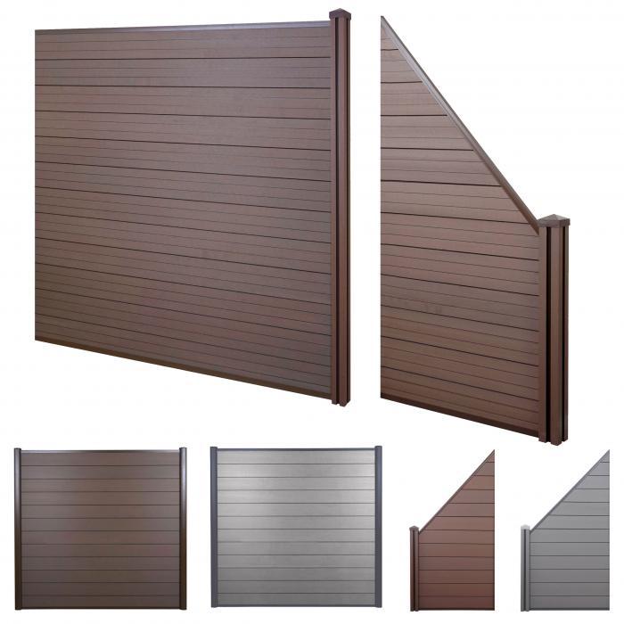 wpc sichtschutz sarthe windschutz zaun wpc pfosten 2er set schr g 2 91m braun. Black Bedroom Furniture Sets. Home Design Ideas