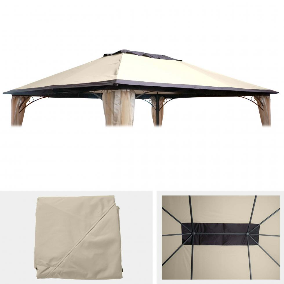 ersatzdach f r pergola hwc c44 4x3m dach bezug sonnenschutz creme ebay. Black Bedroom Furniture Sets. Home Design Ideas