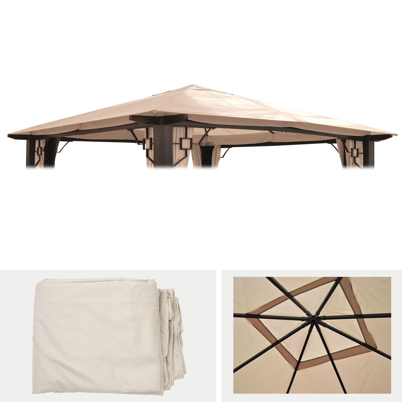 ersatzbezug f r dach pergola pavillon mira 3 5x3 5m creme. Black Bedroom Furniture Sets. Home Design Ideas