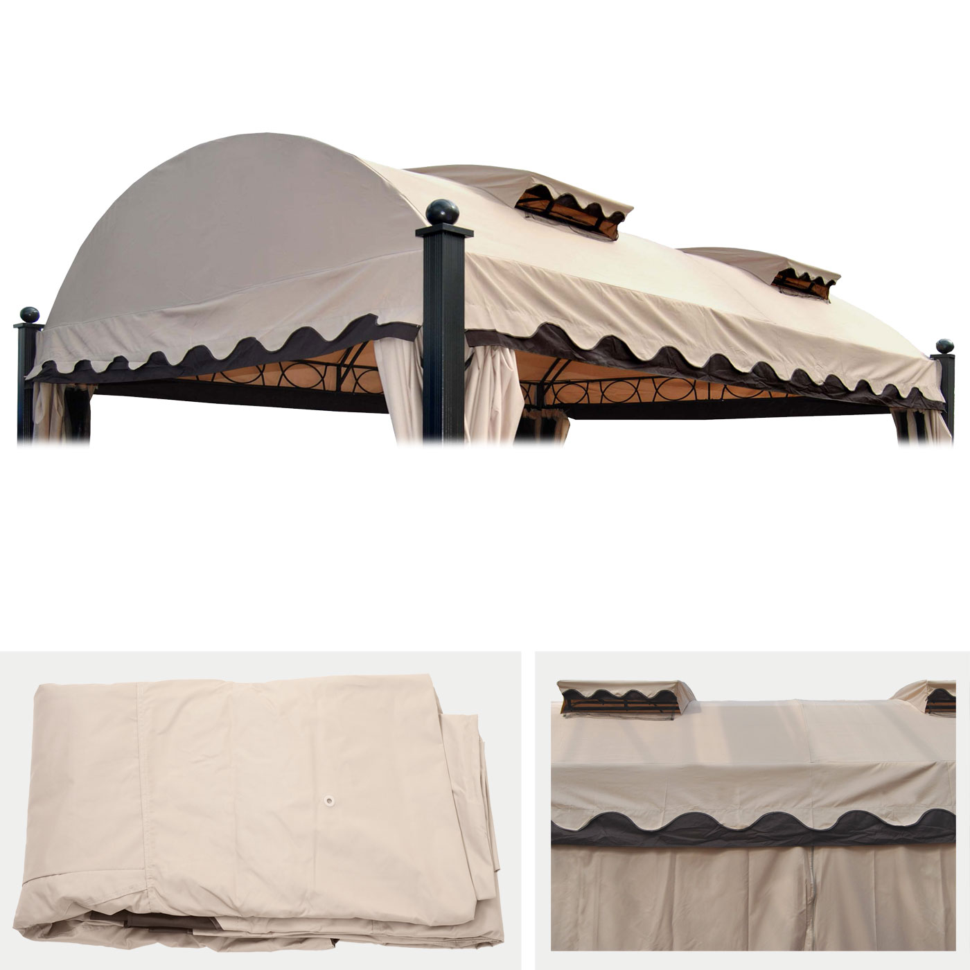 ersatzbezug f r dach pergola pavillon daroca 4 5x3 5m creme. Black Bedroom Furniture Sets. Home Design Ideas