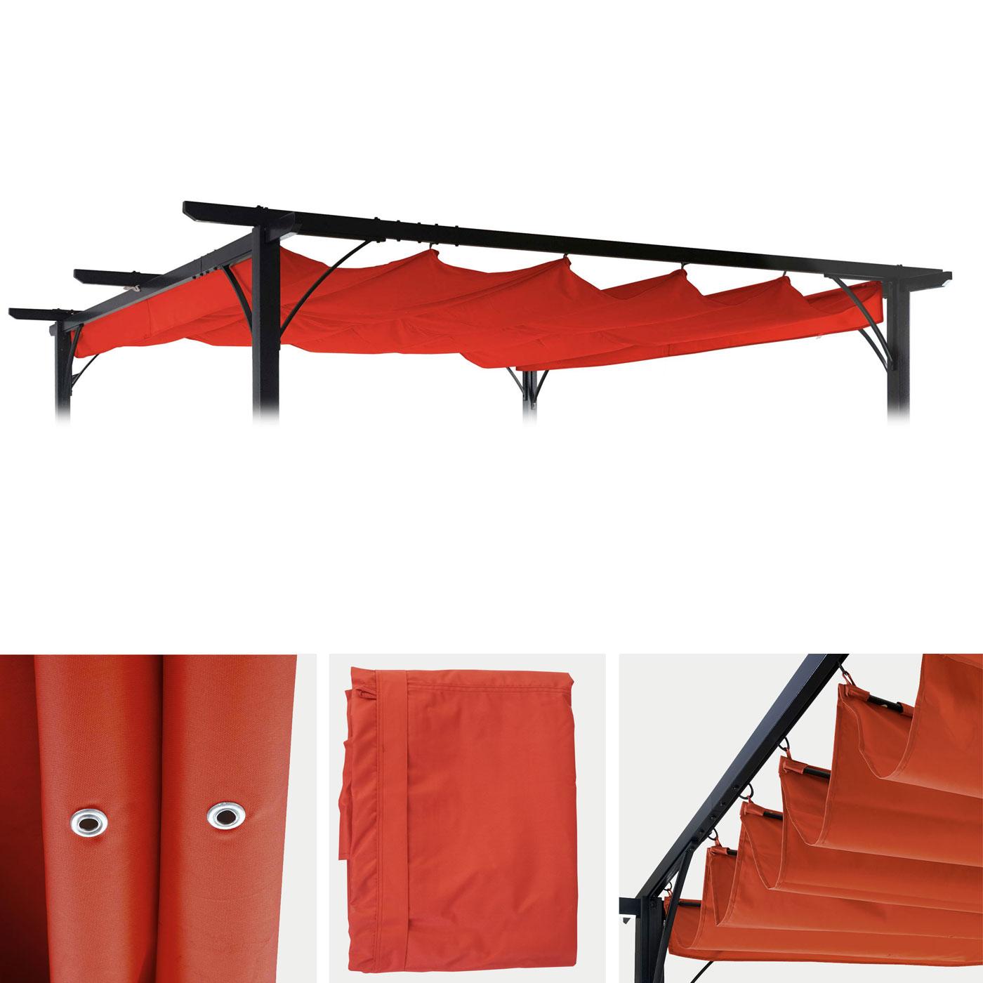 ersatzdach f r pergola 3 5x3 5m hwc c42 schiebedach bezug sonnenschutz terrakotta. Black Bedroom Furniture Sets. Home Design Ideas