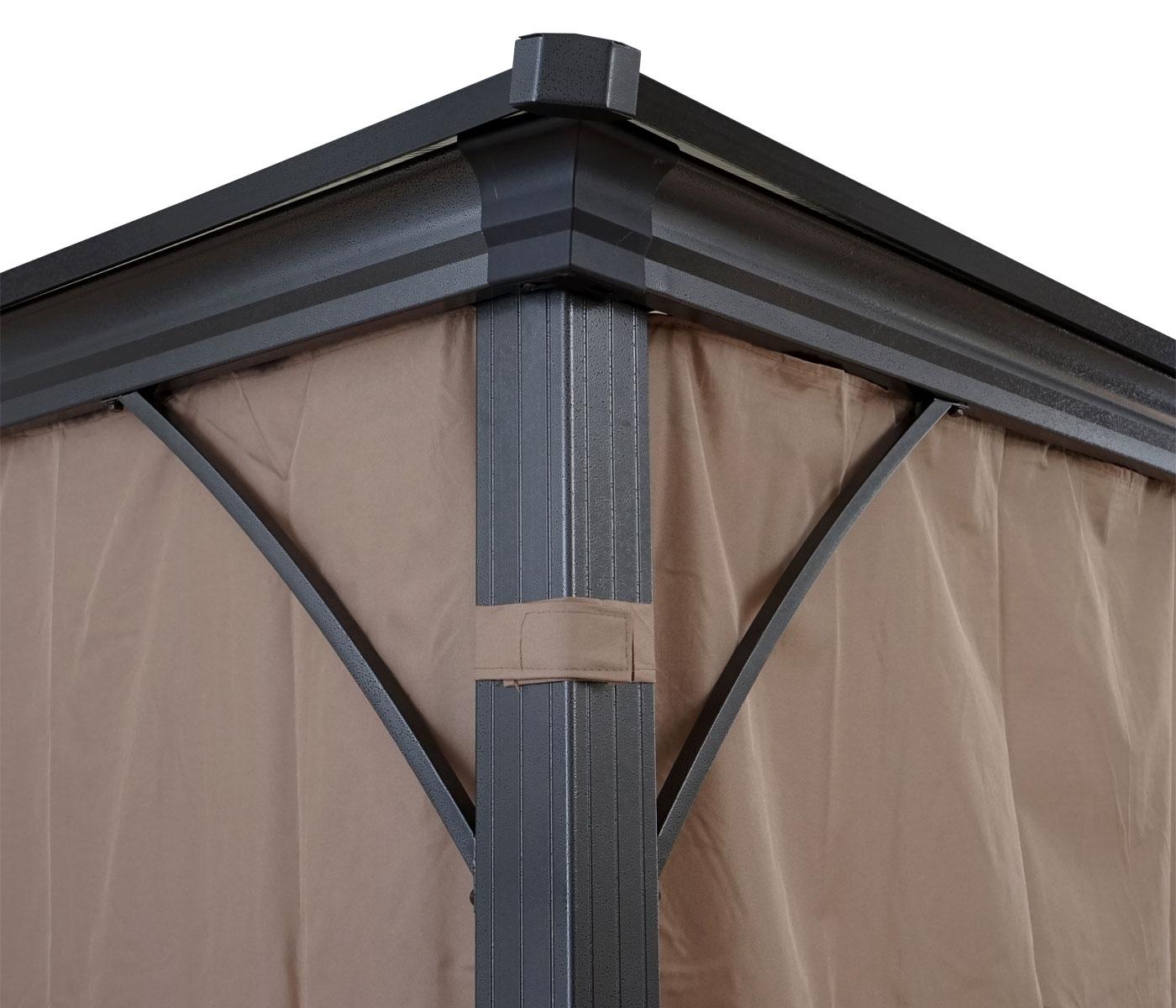 Hardtop Pergola Mcw C74 Garten Pavillon Kunststoff Dach Seitenwand