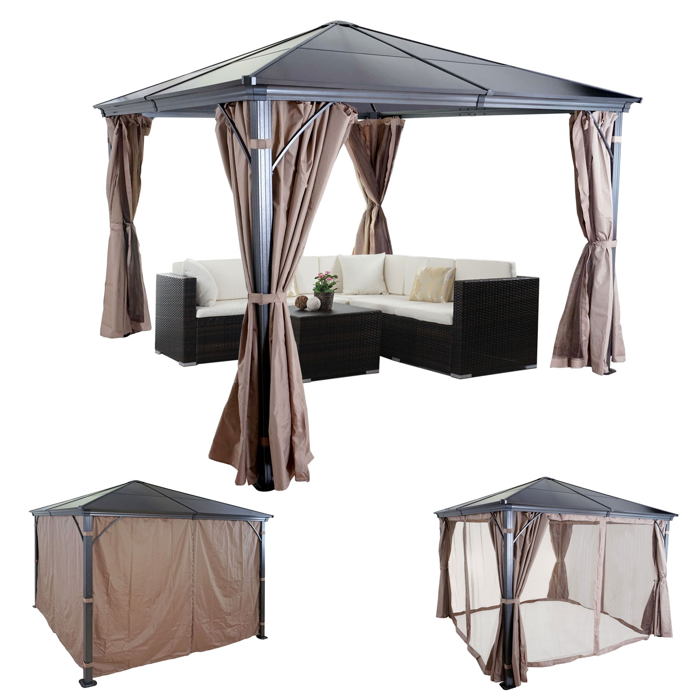hardtop pergola hwc c74 garten pavillon kunststoff dach seitenwand moskitonetz alu 3x3m. Black Bedroom Furniture Sets. Home Design Ideas
