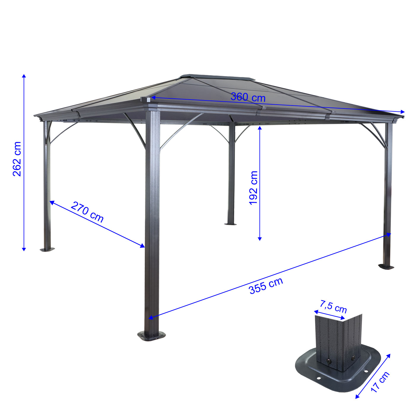hardtop pergola mcw c74 garten pavillon kunststoff dach seitenwand moskitonetz alu 3x3 6m. Black Bedroom Furniture Sets. Home Design Ideas