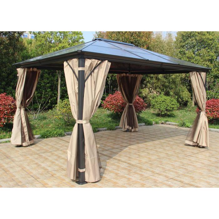 hardtop pergola hwc c74 garten pavillon kunststoff dach seitenwand moskitonetz alu 3x3 6m. Black Bedroom Furniture Sets. Home Design Ideas