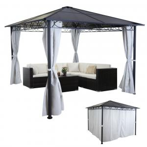 hardtop pergola hwc c77 garten pavillon kunststoff dach seitenwand alu hellgrau 3x3m. Black Bedroom Furniture Sets. Home Design Ideas