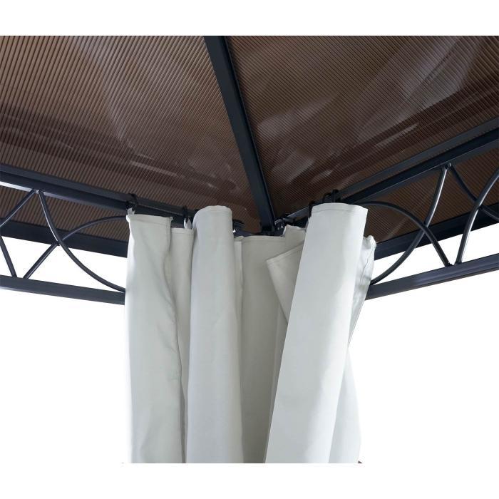 Hardtop Pergola Hwc C77 Garten Pavillon Kunststoff Dach Seitenwand