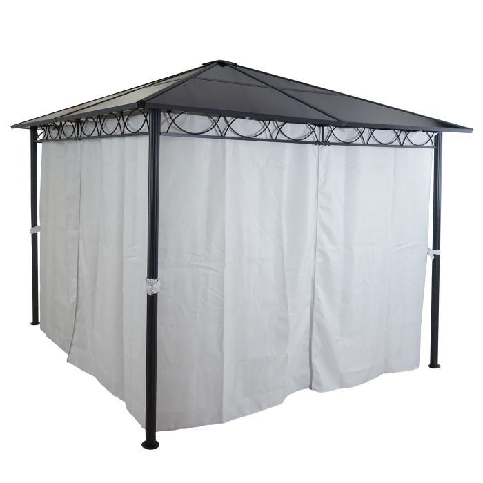 hardtop pergola hwc c77 garten pavillon kunststoff dach seitenwand alu hellgrau 3x3m. Black Bedroom Furniture Sets. Home Design Ideas