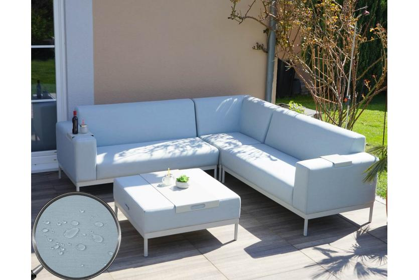 alu garten garnitur hwc c47 sofa outdoor textil blau mit ablage ohne kissen. Black Bedroom Furniture Sets. Home Design Ideas