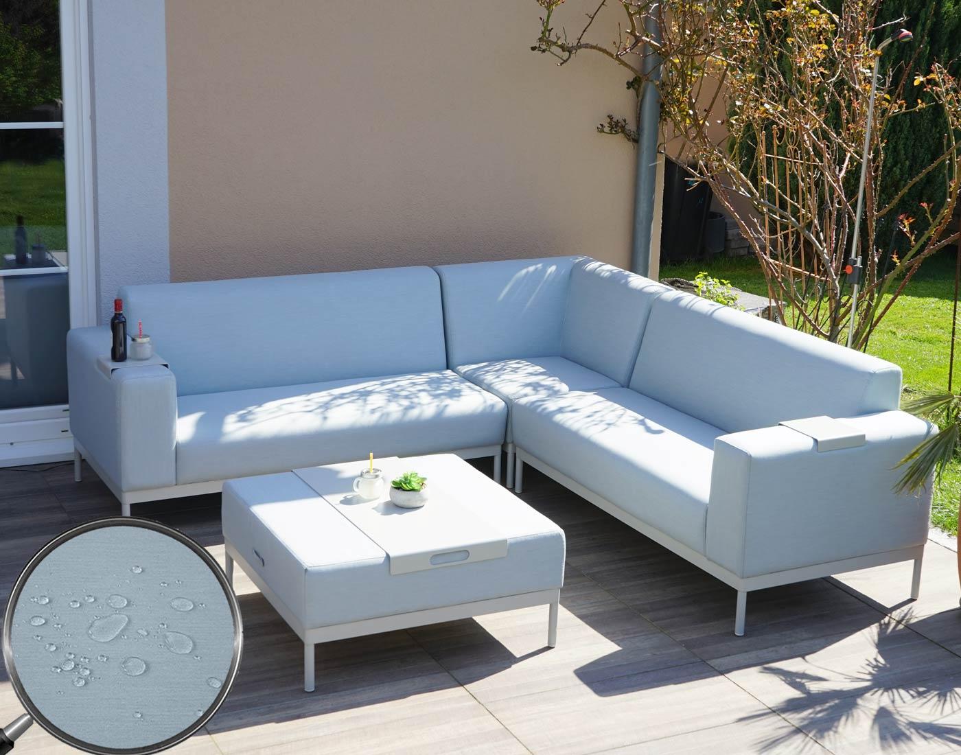 Alu garten garnitur hwc c47 sofa outdoor textil blau for Sofa ohne kissen