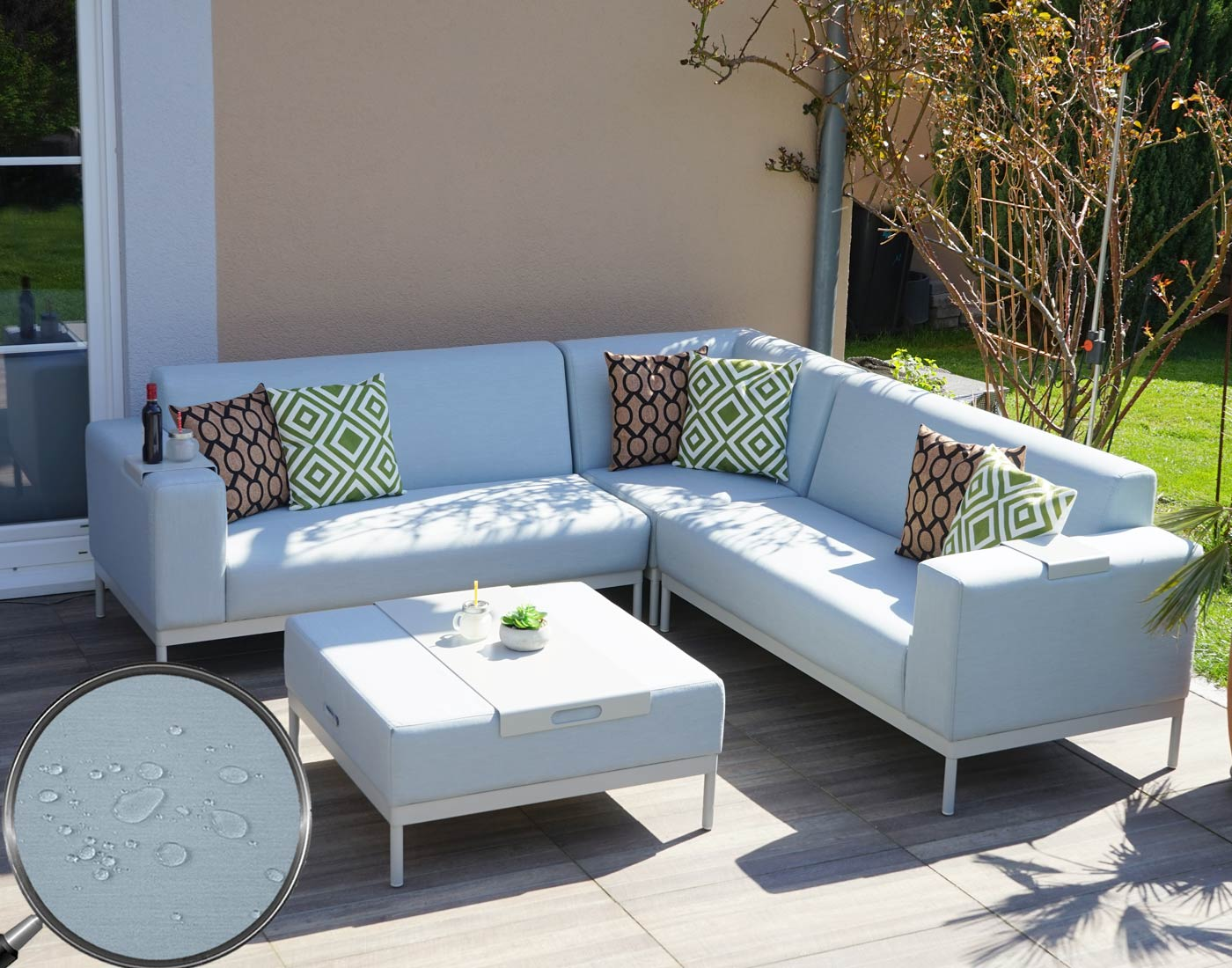alu garten garnitur hwc c47 sofa lounge set textil outdoor wasserabweisend ebay. Black Bedroom Furniture Sets. Home Design Ideas