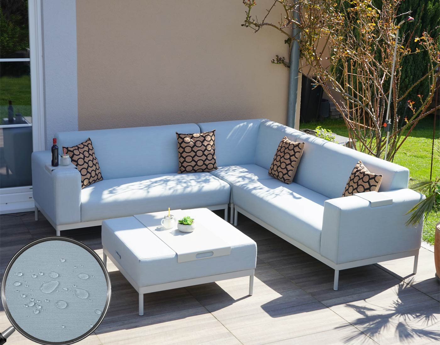 alu garten garnitur hwc c47 sofa outdoor textil blau mit ablage kissen braun. Black Bedroom Furniture Sets. Home Design Ideas