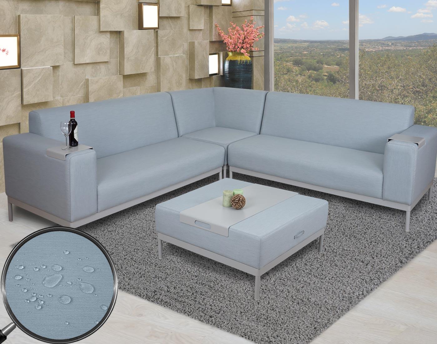 ecksofa hwc-c47, sofa loungesofa couch, stoff/textil indoor