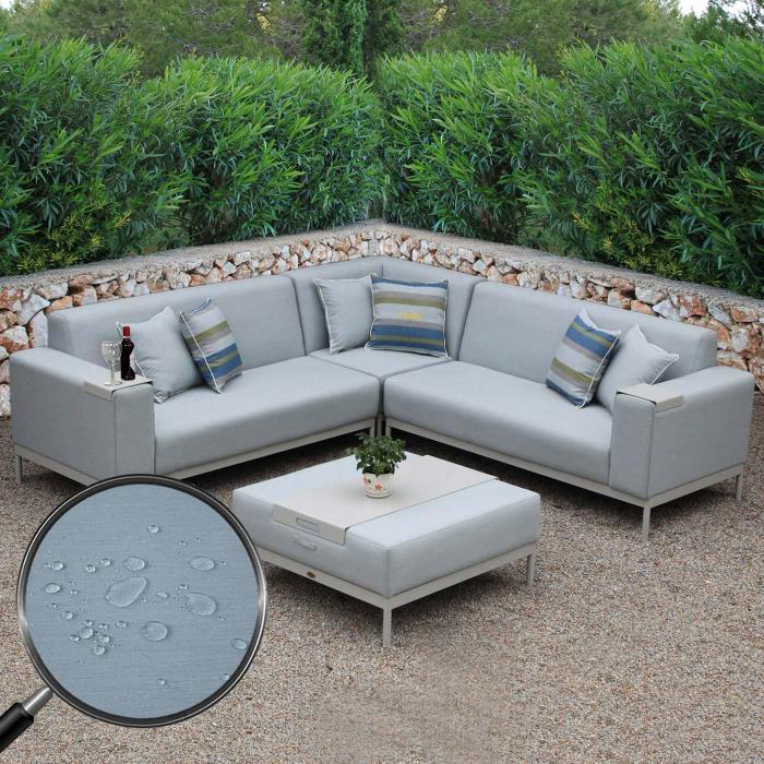 alu garten garnitur hwc c47 sitzgruppe lounge set wasserabweisend grau blau mit abdeckung. Black Bedroom Furniture Sets. Home Design Ideas