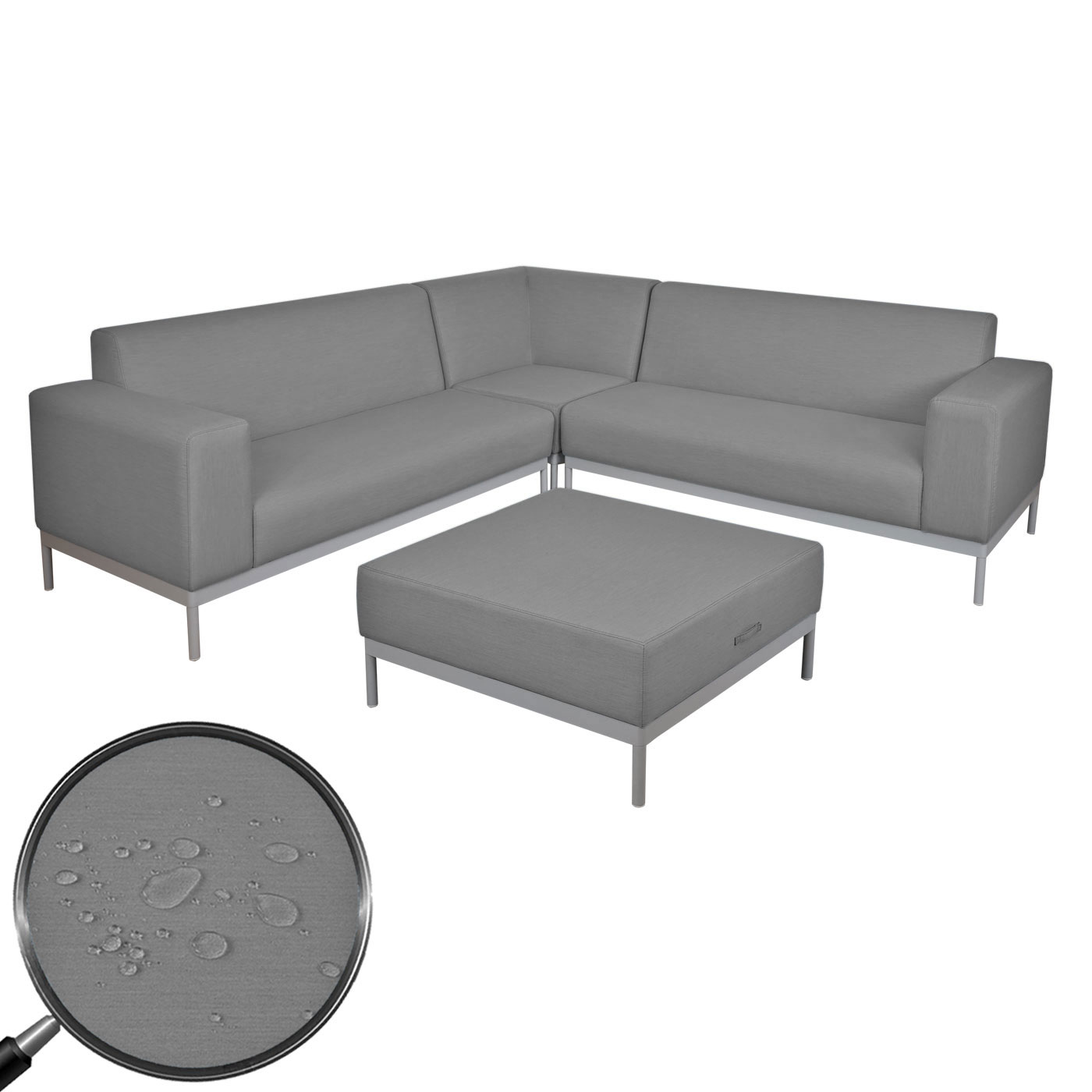 alu garten garnitur hwc c47 sofa lounge set textil outdoor wasserabweisend grau ohne ablage. Black Bedroom Furniture Sets. Home Design Ideas