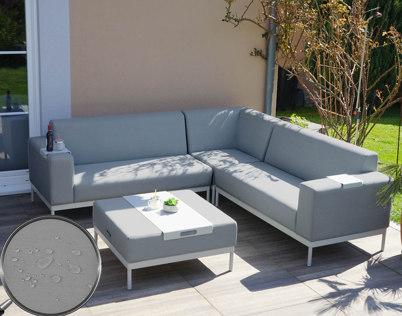 alu garten garnitur hwc c47 sofa outdoor textil grau mit ablage ohne kissen. Black Bedroom Furniture Sets. Home Design Ideas