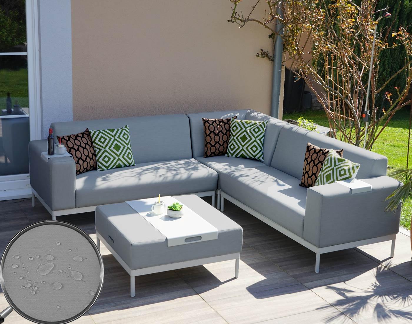 alu garten garnitur hwc c47 sofa outdoor textil grau mit ablage kissen gr n braun. Black Bedroom Furniture Sets. Home Design Ideas