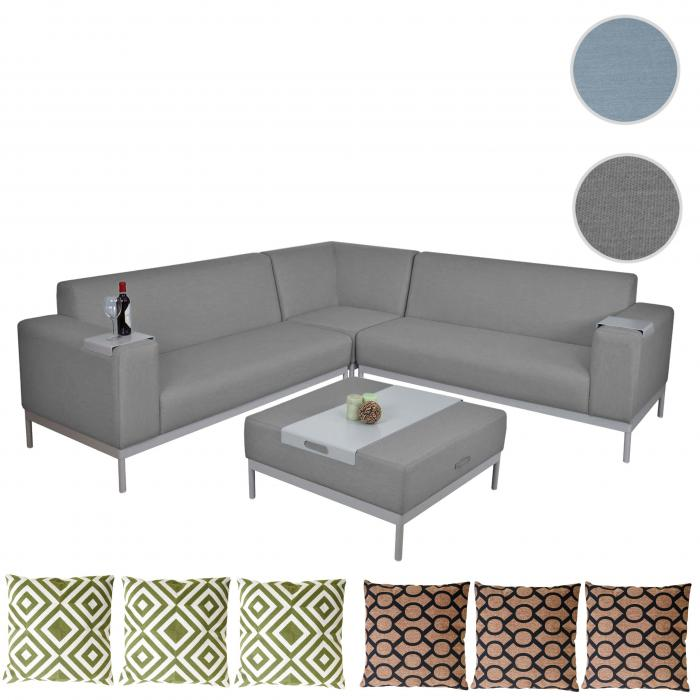 alu garten garnitur hwc c47 sofa outdoor textil grau mit ablage kissen gr n braun. Black Bedroom Furniture Sets. Home Design Ideas