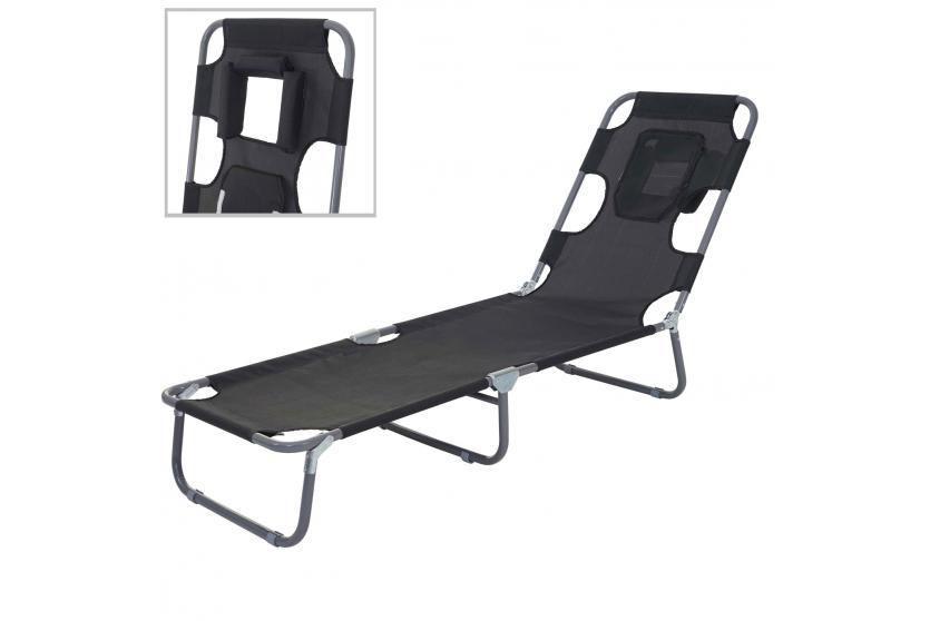 sonnenliege hwc b11 relaxliege gartenliege bauchliegefunktion textil klappbar schwarz. Black Bedroom Furniture Sets. Home Design Ideas