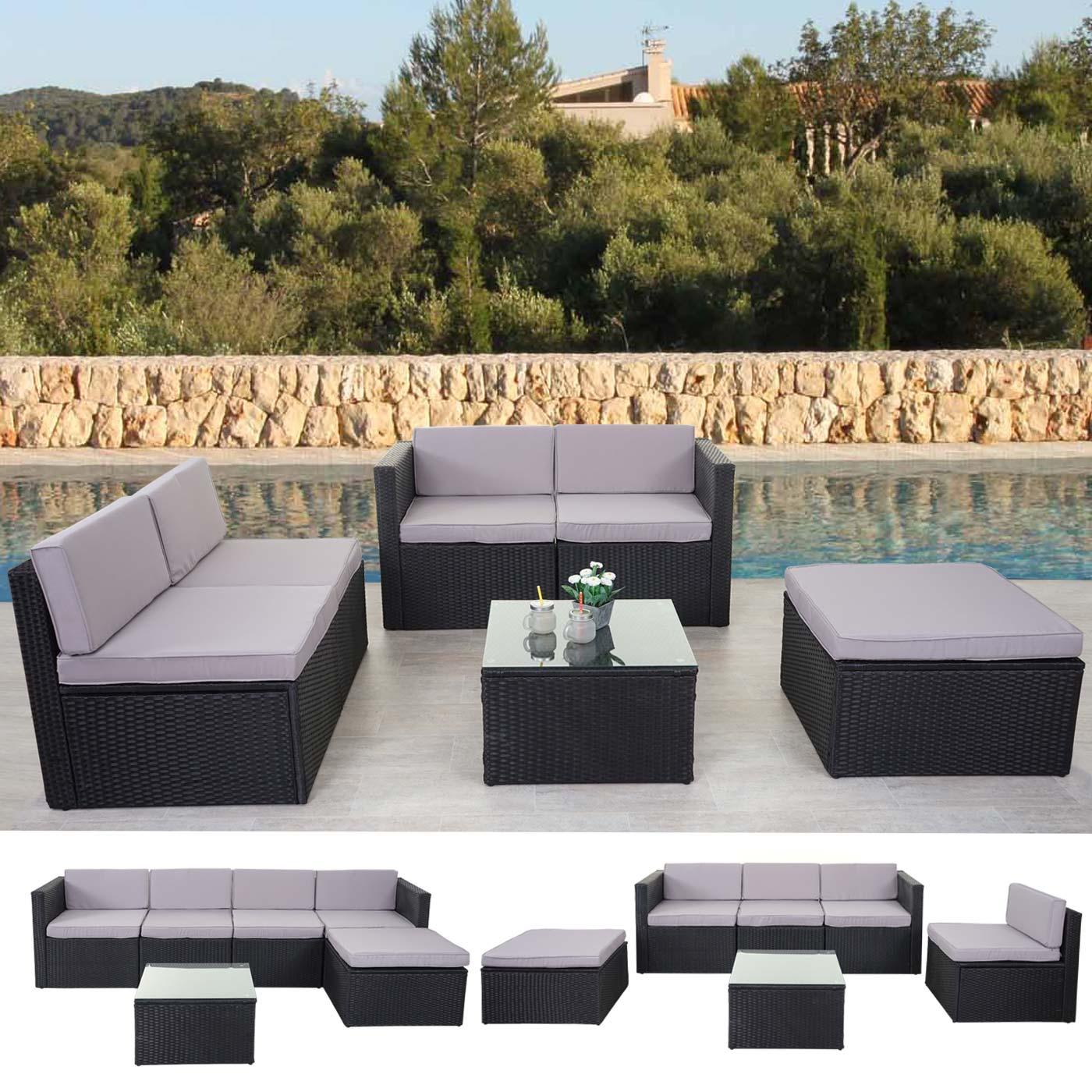 poly rattan garnitur hwc d24 gartenm bel sitzgruppe. Black Bedroom Furniture Sets. Home Design Ideas
