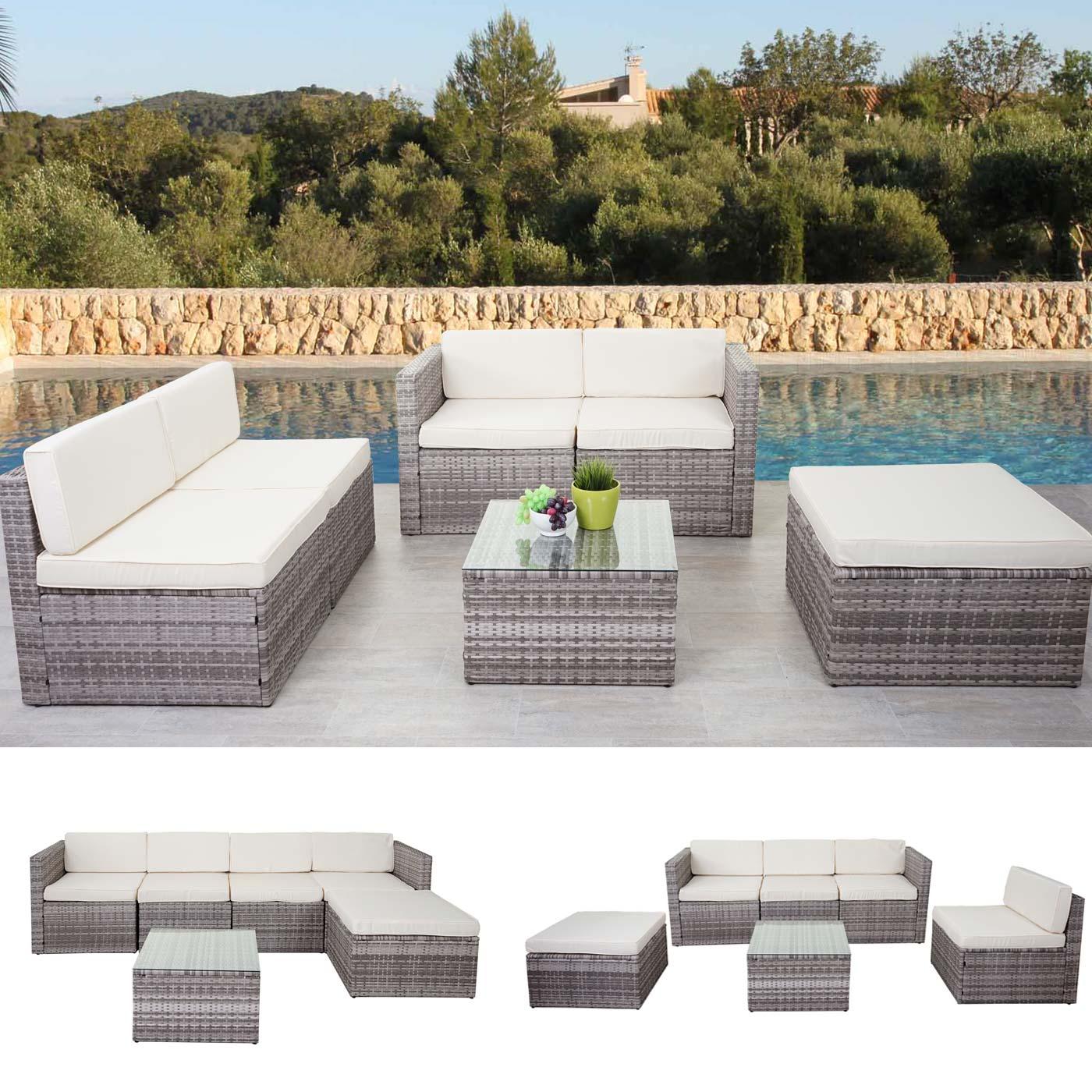 Poly-Rattan-Garnitur HWC-D24, Gartenmöbel Sitzgruppe Lounge-Set ...