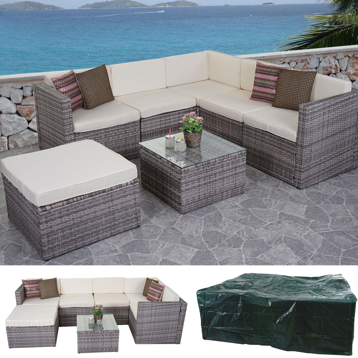 Salottino da esterno hwc d45 polyrattan grigio cuscini for Teli decorativi
