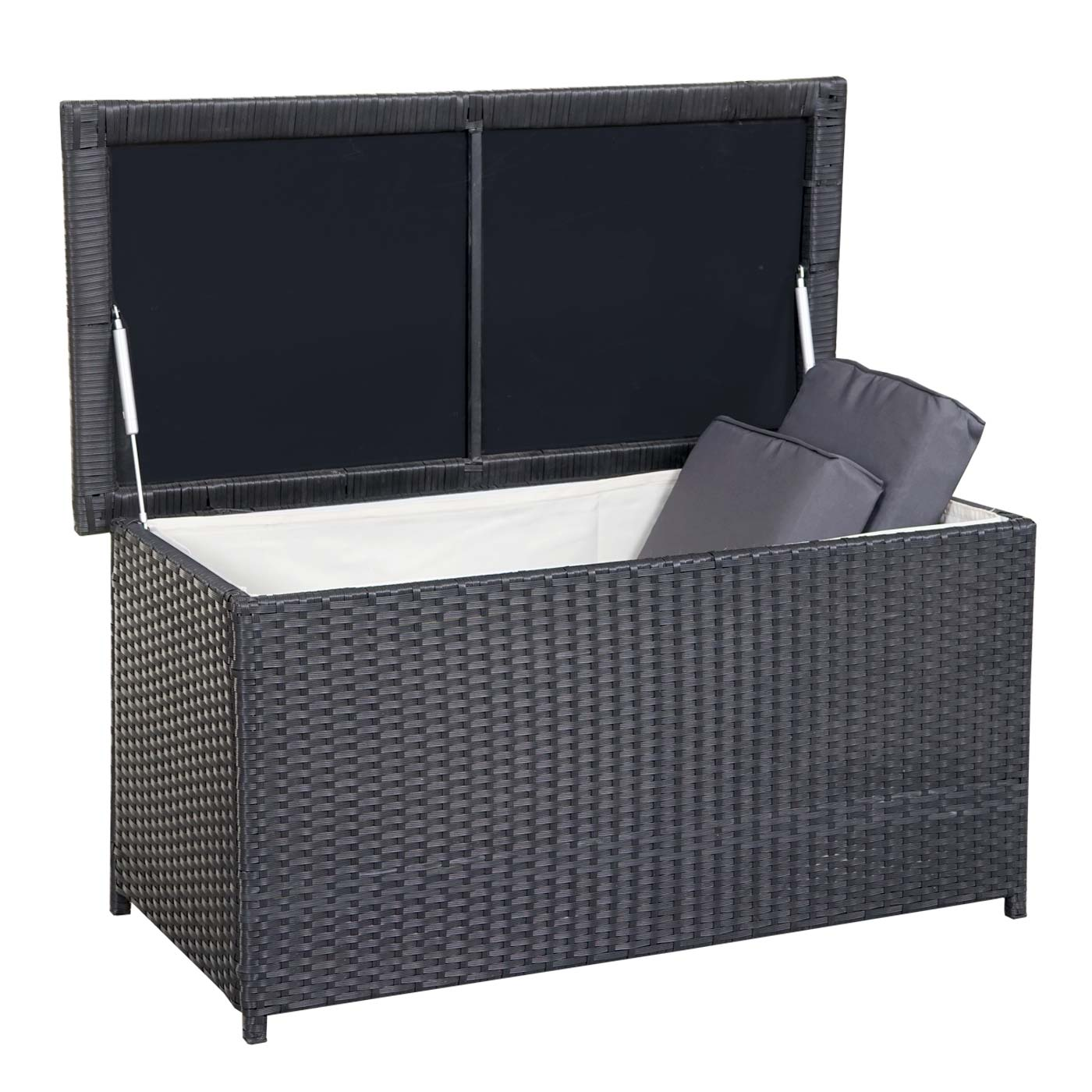 poly rattan kissenbox hwc d43 truhe auflagenbox gartentruhe 51x100x50cm 160l schwarz. Black Bedroom Furniture Sets. Home Design Ideas