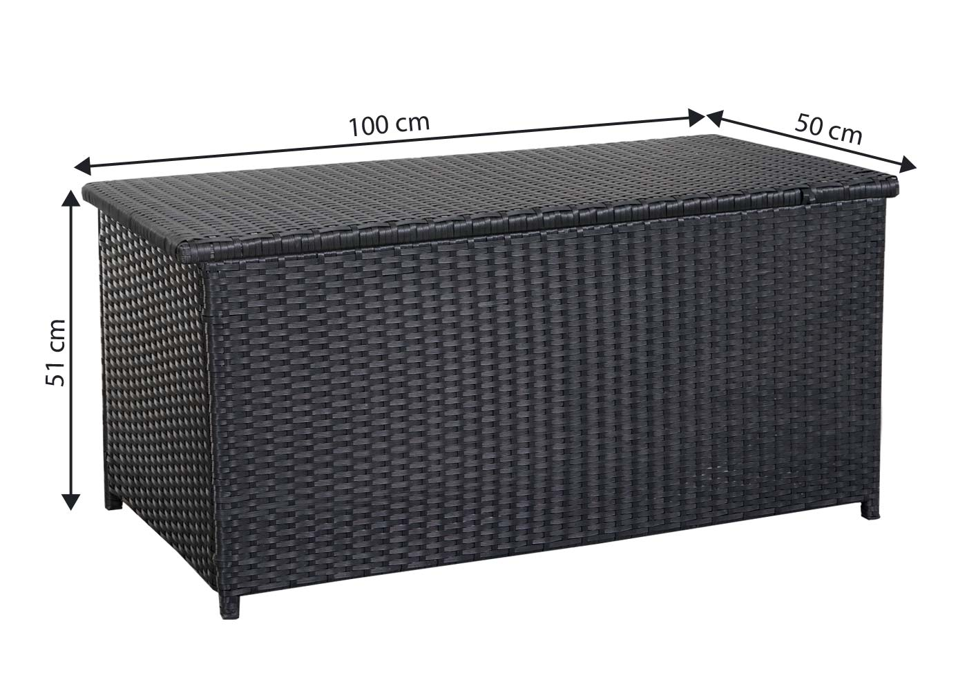 poly rattan kissenbox mcw d43 truhe auflagenbox gartentruhe 51x100x50cm 160l schwarz. Black Bedroom Furniture Sets. Home Design Ideas