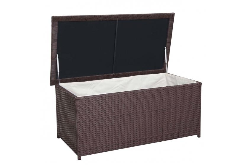 poly rattan kissenbox hwc d43 truhe auflagenbox gartentruhe 51x100x50cm 160l braun. Black Bedroom Furniture Sets. Home Design Ideas