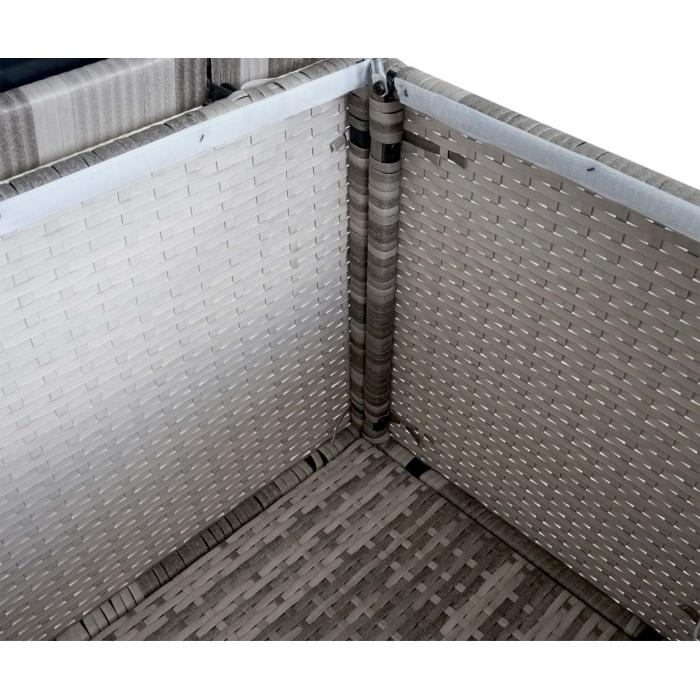 poly rattan kissenbox hwc d43 truhe auflagenbox gartentruhe 51x100x50cm 160l grau. Black Bedroom Furniture Sets. Home Design Ideas